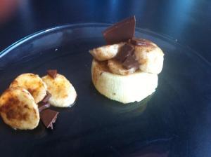 Budino di ricotta con banana, cannella e cioccolato