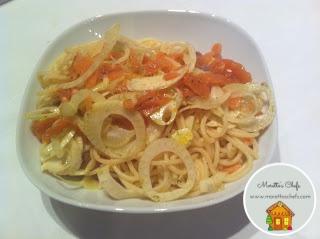 Spaghetti con salmone, finocchio e arance
