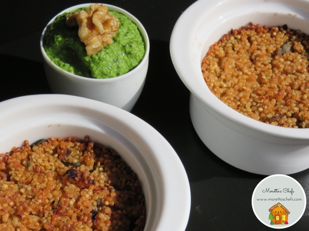 Sformatini di quinoa con pesto allo spinacino, noci e acciuga