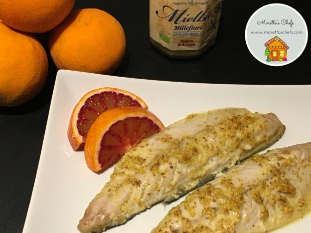 Sgombro con salsa alla senape, miele e arancia