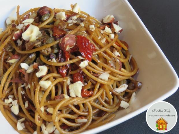 Spaghetti con salsa al caffè espresso, capperi e pomodorini - ricetta per Il Circolo del Cibo Altromercato