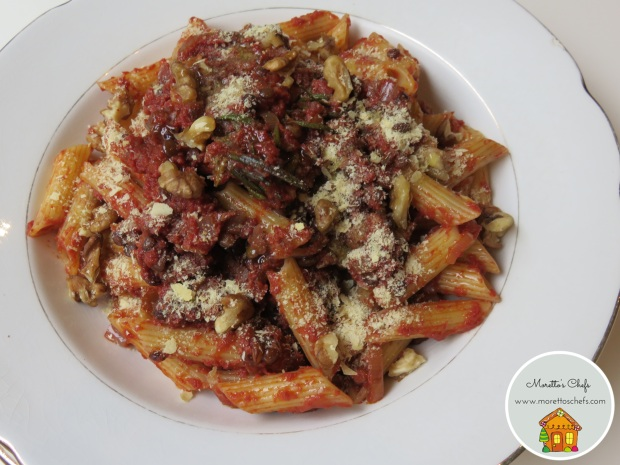 Penne con ragù di lenticchie e noci - ricetta per Il Circolo del Cibo Altromercato
