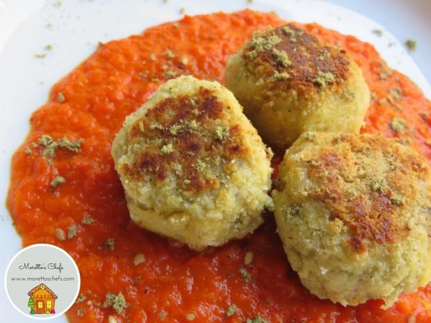 Polpette di pesce allo Za'atar su crema di peperoni - ricetta per Il Circolo del Cibo Altromercato