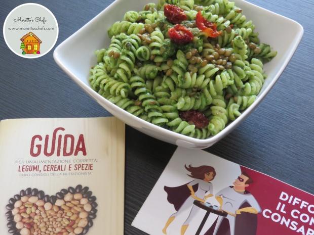 Pasta con lenticchie, pomodorini secchi e pesto leggero di spinacino